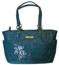 Amazon.com: Authentic Coach Embossed Patent Leather Gallery Tote Bag Handbag 19462 Peacock: Shoes