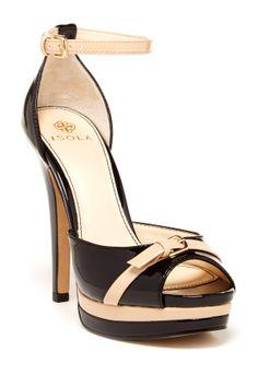 Black + nude bow heels