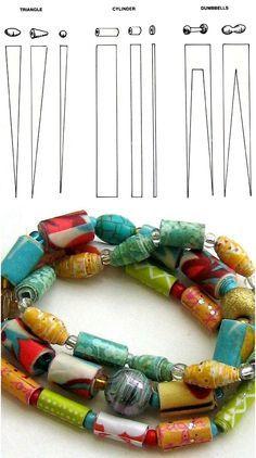 Gabarits des diverses formes à découper dans le papier pour obtenir différentes perles.