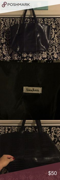 Neiman Marcus faux alligator tote ✨Perfect condition. It has been sitting in my closet. Lightweight & stylish. Use as a purse, tote, or gym bag. It's a nice size. Hints of dark gray & black. Neiman 💕 Marcus you say?😉 Neiman Marcus Bags Totes