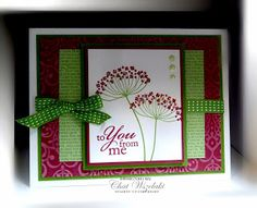 handmade greeting card featuring Summer Silhouettes ... burgundy, green and white .. patterned papers in mats ... horizontal layout ... not too flowery if you need a masculine card ... like how the ribbon fits into the design ... like this card! ... Stampin' Up!