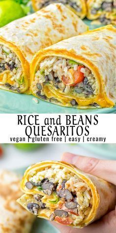 This Rice and Beans Quesarito is entirelly vegan, gluten free and so easy to make. It's cheesy, incredibly satisfying and so delicious for dinner, lunch, meal prep (reheat beautifully) and amazing for Tasty Vegetarian Recipes, Vegan Dinner Recipes, Vegan Dinners, Veggie Recipes, Mexican Food Recipes, Healthy Food Recipes, Whole Food Recipes, Cooking Recipes, Cooking Rice