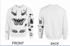 UPDATED VERSION Unisex Crewneck Sweatshirt Harry Styles Tattoos One Direction 1D CHRISTMAS LIST!!!