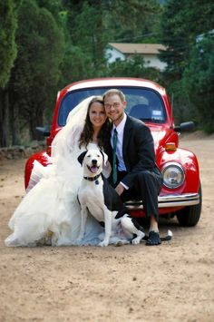 Our new family - wedding photo with Dudley the dog. Pic by @Teresa Funes