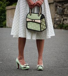 Mint green bow heels & Jump From Paper purse