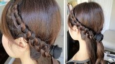Chinese Staircase Knotted Headband Hairstyle for Medium Long Hair Tutorial, via YouTube.