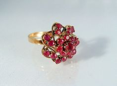 Fascinating 1910s Edwardian ruby cluster ring by MidwestArtObjects