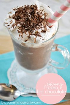 This is my favorite skinny recipe to date! It only takes 3 simple ingredients to whip up this delicious and SKINNY Frozen Hot Chocolate! | www.somethingswanky.com ----  (Pinner's comments next: One cup of chocolate almond milk = 2 points plus so just add whatever the whipped topping and grated chocolate are for a nice treat, especially in the hot summer months.)