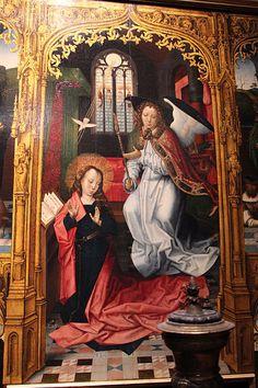 Maestro di San Giovanni Evangelista (attr.), Annunciazione e Santi, dettaglio, 1490-1500 ca. -   Museo Poldi Pezzoli, Milano