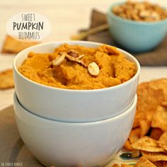 Sweet Pumpkin Hummus is like a healthy version of pumpkin pie! Pumpkin spice season is the absolute best time of year! Perfect with veggies or pita chips. YUM!