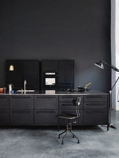 Black on black office \\\ #black wall and black desk.