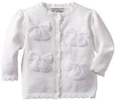 Hartstrings Baby-Girls Infant Petersham Ribbon Bows On Front Long Sleeve Cardigan Sweater, White, 18 Months Hartstrings. $42.00