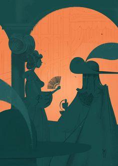 Cyrano De Bergerac · Selected artworks by Simone Massoni, via Behance Reading Rainbow, Comic Book Artists, Cartoon Styles, Art Direction, Illustrations Posters, Color Inspiration, Illustrators, Art Projects, Art Photography