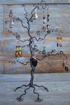 Jewelry Tree Display and Earring Organizer - Black, Tropical Branch, 12 inches. $32.00, via Etsy.