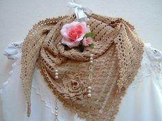 Sciarpa di pizzo all'uncinetto-Copri spalle di cotone ecru-Sciarpa triangolare per l'estate-Stile boho : Sciarpe, foulard, cravatte di i-pizzi-di-anto