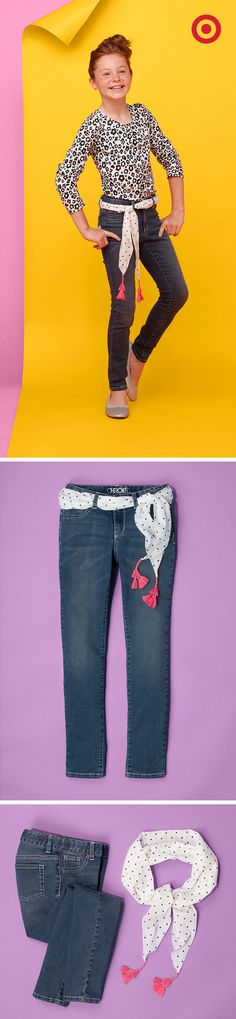 For back to school kids' style, a scarf from Target can make a great belt for jeans.