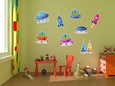 Aliens, UFOs and Rocket Ships Kids Room Wall Decal