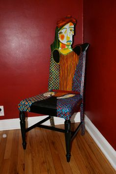Silla Picasso Femme au beret Rouge reciclado pintada por FendosArt