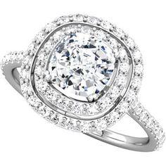 Cushion-shape semi-mount. Hammer Jewelry is a certified Stuller retailer.