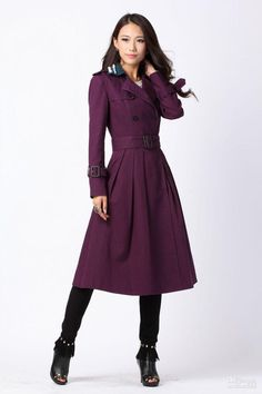 Wholesale Women Winter - Buy Trench Coat Newest Women's Brand Linen Purple Trench, Lady Double-breasted Long Coat, Winter/autu, $80.57 | DHgate