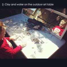 {from An Everyday Story} This was a large outdoor art experience using clay, water and natural materials. The mirror provides a framework to the exploration as well as reflecting back Jack's movements.