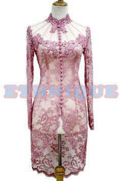 Dusty pink Kebaya Pink, Kebaya Lace, Kebaya Brokat, Kebaya Dress, Casual Dress Outfits, Stylish Dresses, Kebaya Wedding, Wedding Dress, Model Kebaya