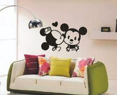 Kiss Kissing Disney Mickey Mouse Decal Wall Stickers Vinyl Wall Decor  Living Room Baby Bed Room