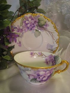 """FRENCH AFRICAN PURPLE VIOLETS TEA CUP & SAUCER"" Antique Limoges France Teacup & Saucer Hand Painted Vintage Victorian Floral Art China Painting 19th Century American China Painter Circa 1900 Tea Cup Set, My Cup Of Tea, Cup And Saucer Set, Tea Cup Saucer, Tea Sets, Vintage Cups, Vintage Tea, Vintage China, Vintage Floral"