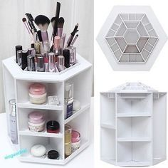 360 ° Cosmetic Make Up Organizer Storage Stand Cosmetic Box Cosmetic Stand - DIY Makeup Diy Makeup Stand, Makeup Box, Makeup Storage, Cosmetic Storage, Storage Hacks, Diy Organisation, Makeup Organization, Closet Organization, Make Up Organizer