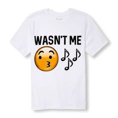 s Boys Short Sleeve 'It Wasn't Me' Whistling Emoji Graphic Tee - White T-Shirt - The Children's Place