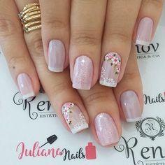 Ideas For Nails Design Valentines French Nailart Trendy Nails, Cute Nails, Diy Nails, Nailart, Best Nail Art Designs, Flower Nails, Gorgeous Nails, Cool Nail Art, Simple Nails