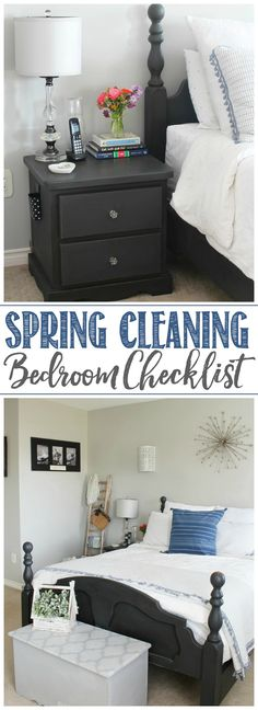 Great step by step guide to spring clean the bedrooms. Free printable checklist included. / #springcleaning #masterbedroom #cleaningtips #cleaninghacks