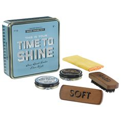 'Time to shine' shoe shine kit is a great vintage gift for him!