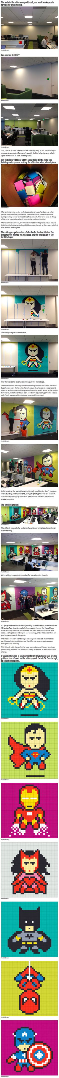 Drab office transformed into a nerds dream with nothing but post-it notes.