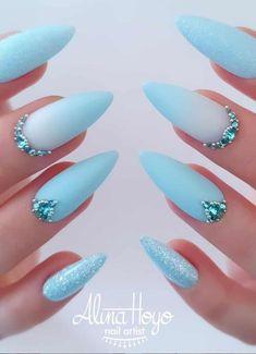68 Beautiful Stiletto Nails Art Designs And Acrylic Nails Ideas 2020 - Lily Fashion Style Acrylic Nail Designs Glitter, Nail Designs Bling, Bling Acrylic Nails, Nails Design With Rhinestones, Stiletto Nail Art, Summer Acrylic Nails, Best Acrylic Nails, Bling Nails, Cute Nail Designs