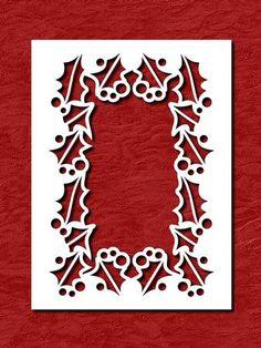 Holly Frame Aperture Card on Craftsuprint designed by Apetroae Stefan - In svg…