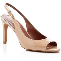 Cole Haan Juliana Slingback High Heel Pumps (4.550 RUB) ❤ liked on Polyvore featuring shoes, pumps, maple sugar, peep toe slingback pumps, high heel peep toe pumps, peeptoe pumps, high heeled footwear and high heel pumps
