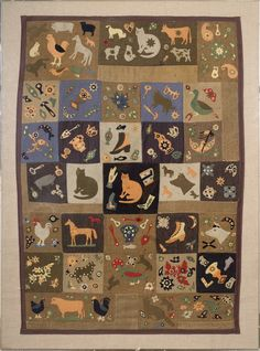 AMERICAN FOLK ART WOOL APPLIQUE CRIB QUILT, LATE NINETEENTH CENTURY.  Sold: $17,700.00 ($15,000)  Elaborately depicting cats, horses, chickens and other farm animals, shoes, farm tools, autumn leaves and other remembrances of everyday farm life. Quilt 54 x 38 inches, now mounted in a plexiglass frame.