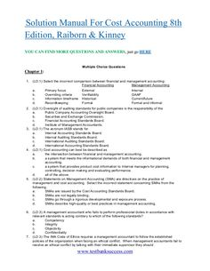 Textbook solutions manual for cost accounting a managerial emphasis testbanksuccess solution manual for cost accounting 8th edition raiborn kinney fandeluxe Images