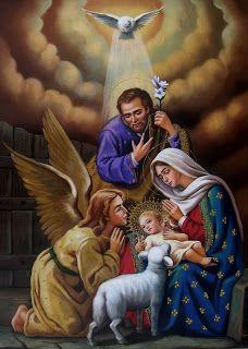 PINTURAS JESÚS, JOSÉ Y MARÍA, EL ANGEL Y EL ESPÍRITU SANTO