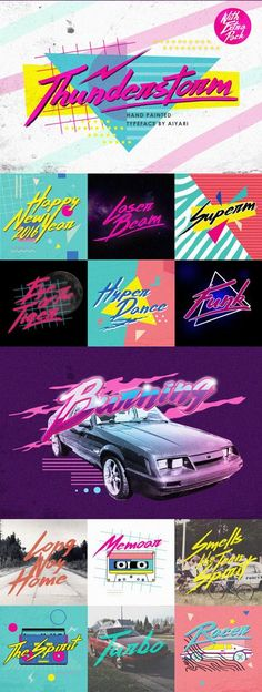 80\'s Font Thunderstorm. A hand-made brush typeface inspired by 80s-90s music, retro, disco, grunge, and pop culture.  uses for poster, logo, clothing, books, invitation, logo, etc. Download: creativemarket.co...