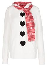 2016 New Style Autumn Winter Women Hoody Christmas Sweatershirt Heart Printed With Scraf Warm Casual Hoodies Molleton White(China (Mainland))