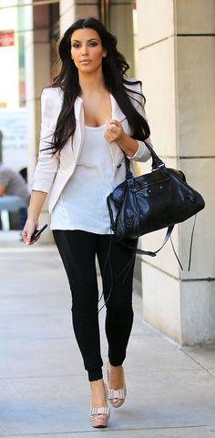 Balenciaga City Bag In Black, Zara blazer, Rag & Bone Black Motor Leggings, Nation Ltd. Palm Springs Snakeskin Tank, Christian Louboutin Clou Noeud Spike Sandals in Nude,