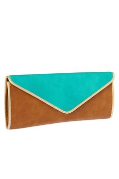 Angle Two Tone Flap Over Clutch In Brown