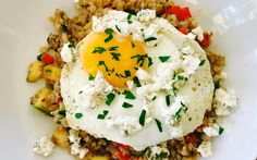 Herbed Cauliflower Rice with Eggs and Goat Cheese