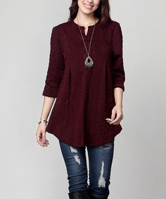 Love this Burgundy Cable Knit Button-Front Shift Tunic - Plus by Reborn Collection on #zulily! #zulilyfinds