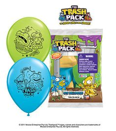 "Included: 6 Balloons Total 12"" Trash Pack Trashies Latex Balloons Print is on 2 sides Colors MAY include Robin's Egg Blue, Lime Green, Goldenrod (Manufacturer pre-pack, colors WILL vary) Print is Blac"