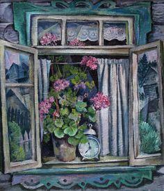 Шаманов Борис Иванович (Россия, 1931-2008) «Деревенское окно» 1960