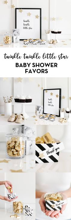 Twinkle Twinkle Little Star Baby Shower | Free Printable Box Templates, Tags + Art Print. Create this simply sweet baby shower easily with our ideas, free templates + Hershey's Nuggets! More details here: http://www.thetomkatstudio.com/2016/05/twinkletwinklelittlestar