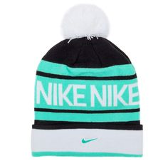 Nike - Hats - Knitted - Nike Pom Beanie - Black and Green Glow - Buy Online at DTLR